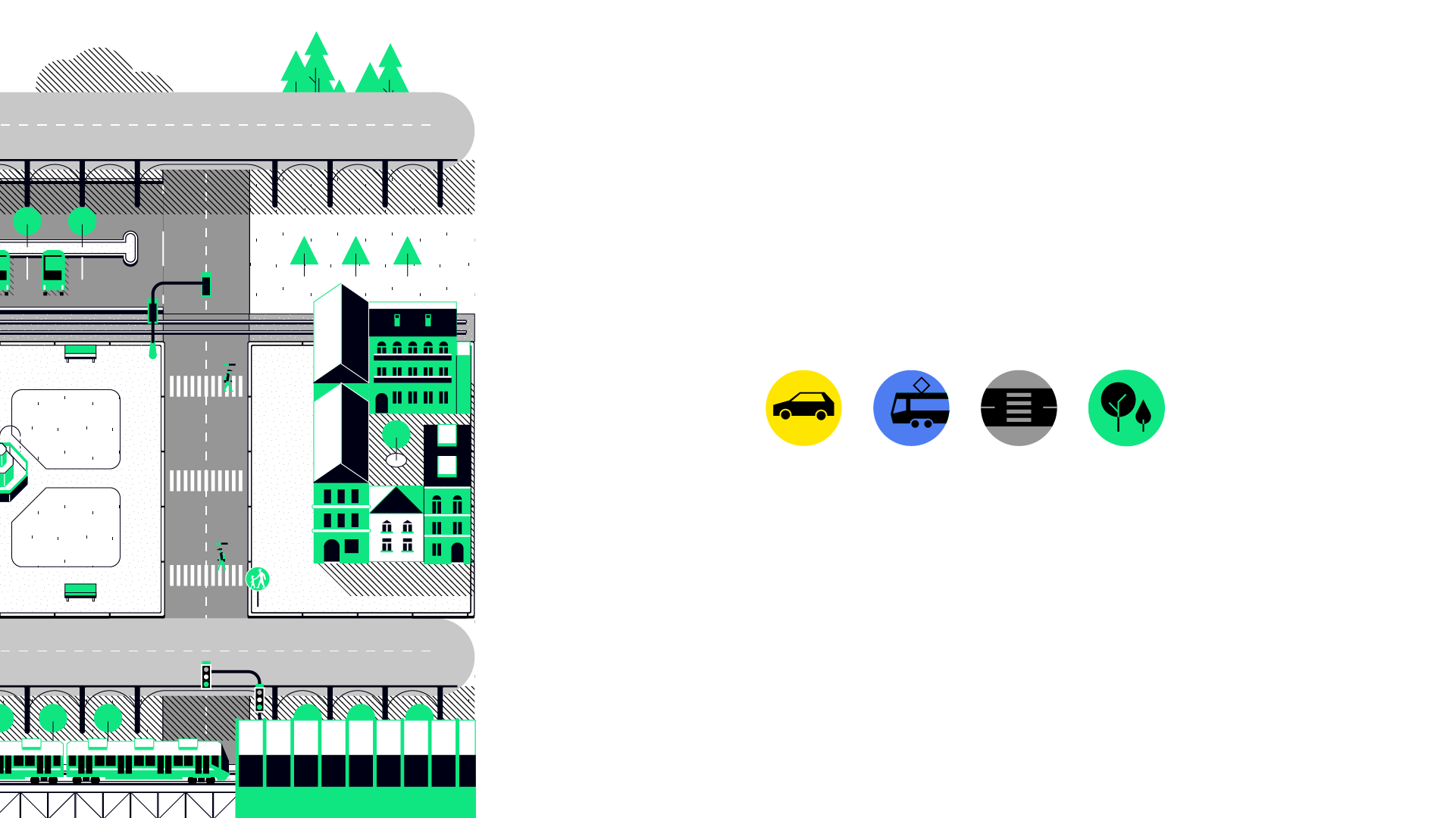 Pictogram Illustration of a city and pictograms of traffic.