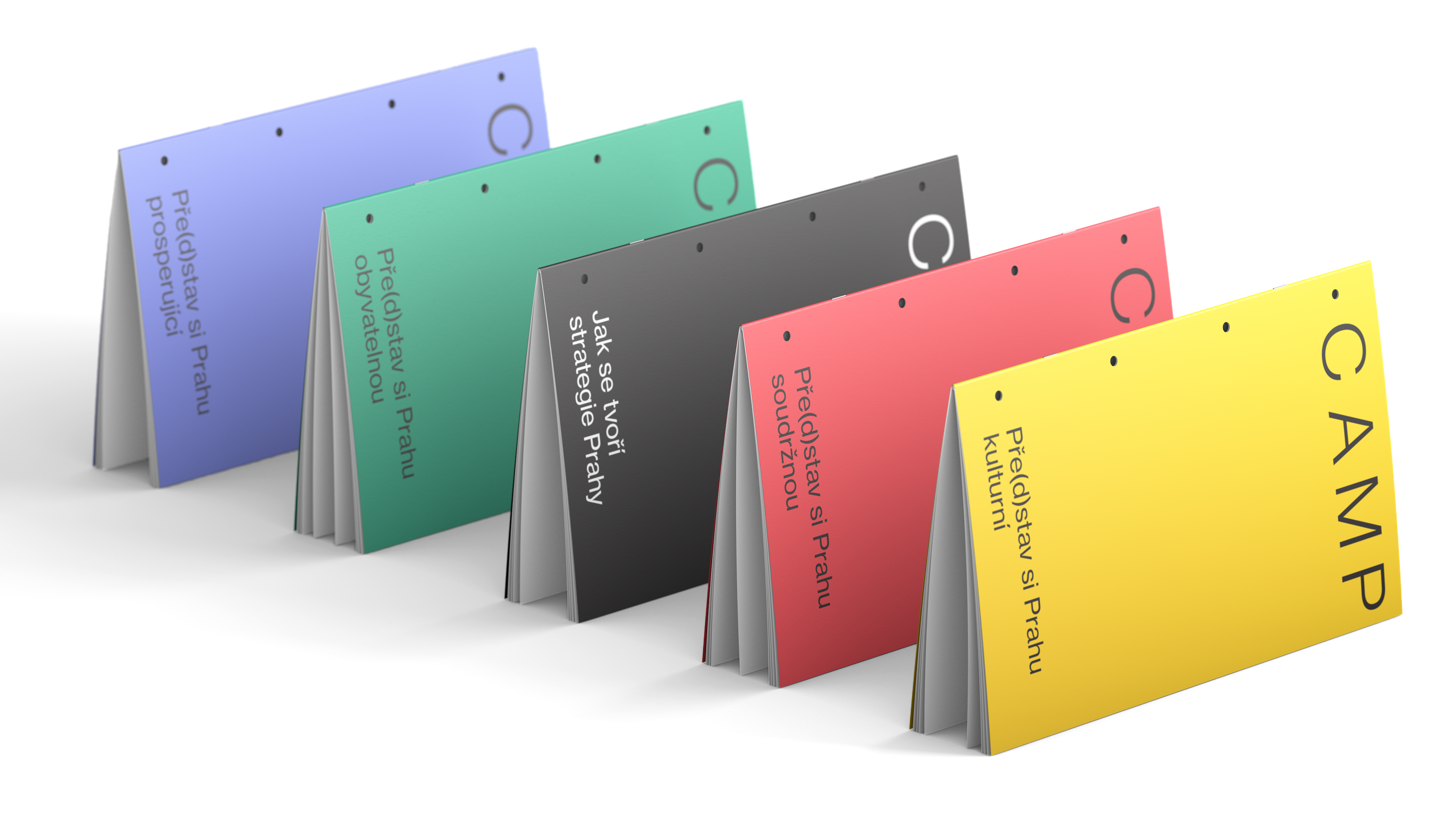 composition of colored brochures